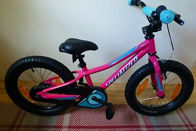 """Girls Pink Specialized 16"""" bike with detachable stabilizers, used"""