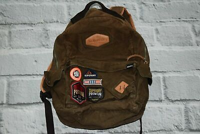 SUPERDRY bag cotton wax badges school patches brown khaki travel backpack rare!