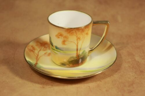 Antique Morimura NIPPON Noritake Hand Painted Demitasse Cup & Saucer Set -Japan