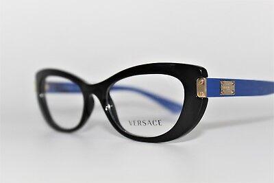 NEW VERSACE MOD 3223 GB1 BLACK/BLUE AUTHENTIC EYEGLASSES FRAMES RX 53MM