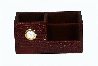Pure Leather Desk Organizer Three Compartment Pen Stand Holder Clock Crocodile