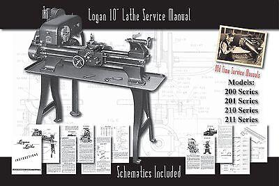 "Logan 10"" Lathe Models 200, 201, 210, 211 Owners Service Manual Parts Lists etc."