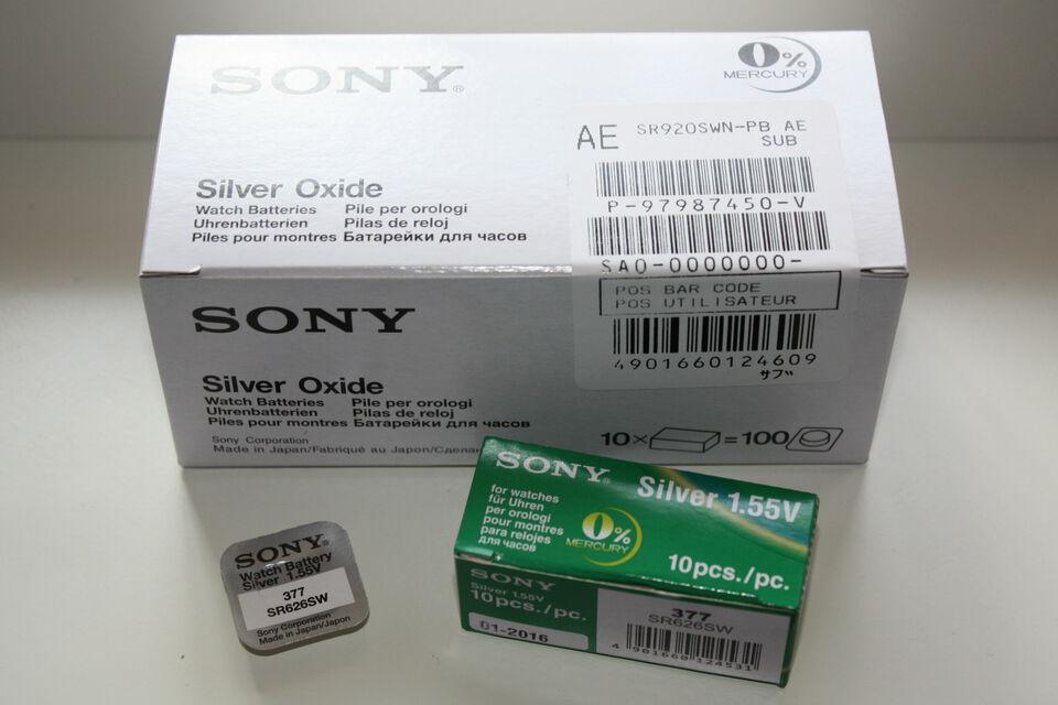 5 Sony Uhren Knopfzellen aus 17 Typen z.B. 317 319 329