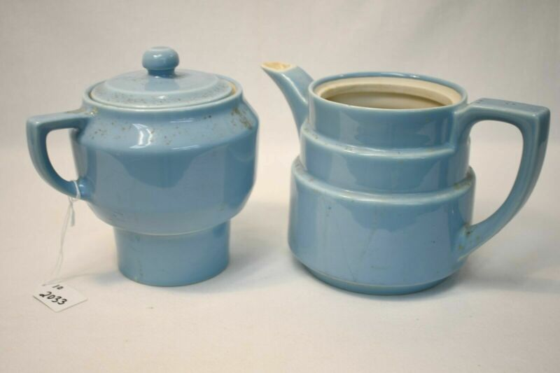 4-Pc. Vintage Poreclain 493 Genuine Coorsite Blue Drip Coffee Pot Set Serveware
