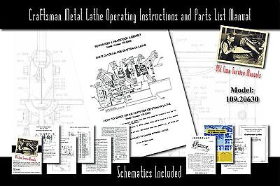 Craftsman 6 Metal Lathe Operating Instructions And Parts List Manual 109.20630