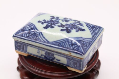 Chinese Antique Blue and White Porcelain Box With Hand Carved Characters Inside