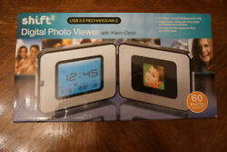 SHIFT DIGITAL PHOTO VIEWER WITH ALARM CLOCK USB 2.0 RECHARGEABLE 60 PHOTOS