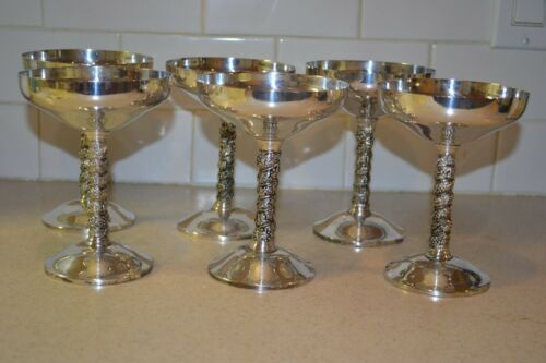 Alfonso Lara Spain Silver Plate Champagne Grape Stem Goblet Footed Sherbet Glass