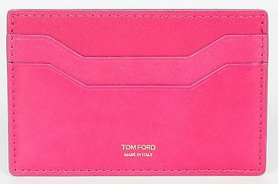 Tom Ford New Pink Smooth 100  Calf Leather Id Credit Card Holder Made In Italy