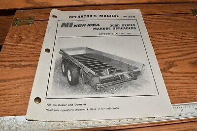 New Idea Manure Spreader 3600 Operator Maintenance Manual S-336