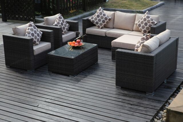 8 Seater Rattan Garden Furniture Conservatory Sofa Set Table Chairs in Brown
