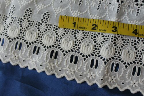 Vtg Antique Lace Wide Whitework Ayrshire Style White Cotton Embroidered Trim