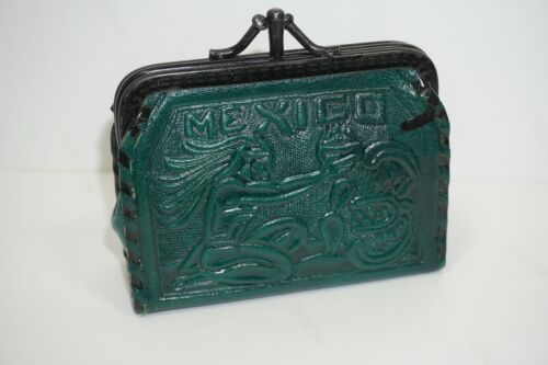 Mexico Tooled Green Leather Kisslock Coin Purse Aztec Motifs