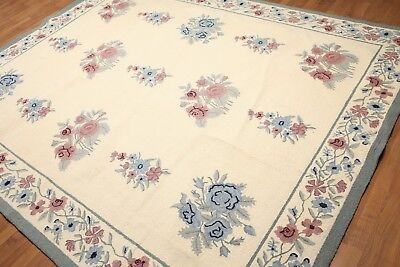 8' x 10' Handmade Hand Hooked Traditional wool French design Area rug 8x10 Ivory Hand Hooked Ivory Wool