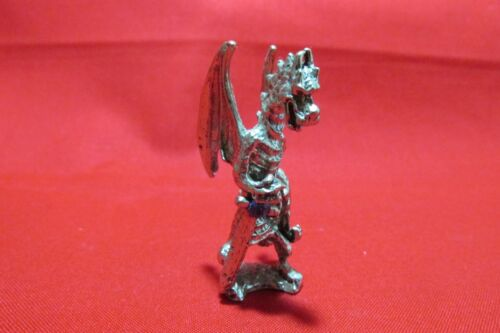 Pewter Dragon  With Sword And Blue  Austrian Crystal  Figurine