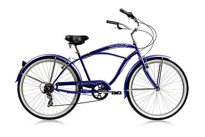 """Micargi 7 speed 26"""" Pantera Men beach cruiser bicycle bike Blue"""