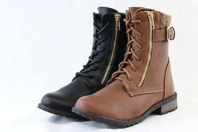 Women Super Cute Fashion Lace-Up Ankle Combat Boots With Sweater Side Zipper (Super Zipper Boots)