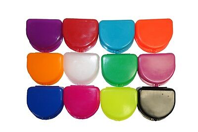 12 Mixed Colors Dental Orthodontic Retainer Denture Mouth Guard Case Cases