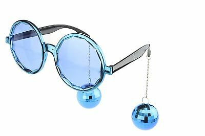 Round Party Sunglasses Novelty Glasses Disco Ball Mirror DJ Costume Blue - Disco Ball Costumes
