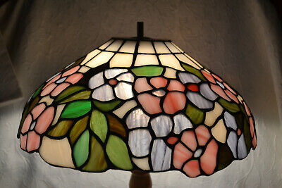 Vintage Stained Glass Floor Lamp Shade only with Flowers Peonies Poppies