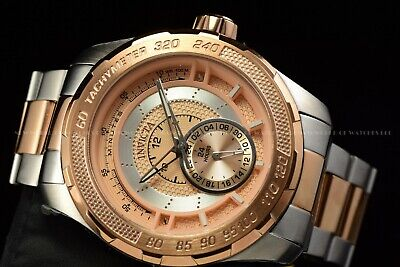 Invicta Men's 50mm S1 Rally Quartz Dual Time Two Tone Rose Gold Silver SS Watch