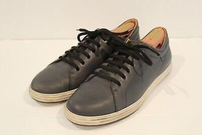 Salvatore Ferragamo Blue Gray Leather Sneakers Made in Italy Men's 13 AMAZING