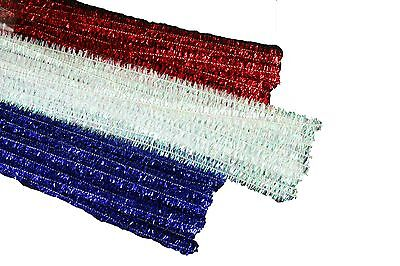 PATRIOTIC Set of 75 Metallic Tinsel Chenille Pipe Cleaners for Kids Crafts