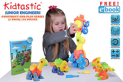 Kidtastic Dinosaur Toys, STEM Learning (106 pieces), Take Apart Fun (Pack of 3)
