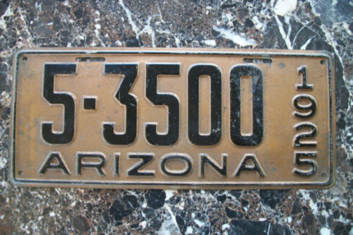 1925 ARIZONA LICENSE PLATE, YAVAPAI CO. # 5-3500 DMV CLEARED 9/18/20, ORIGINAL.