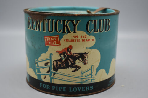 """Vintage Kentucky Club Pipe Tobacco Tin with Tax Stamp, 4 1/2"""" T, 5 1/2"""" W, Empty"""