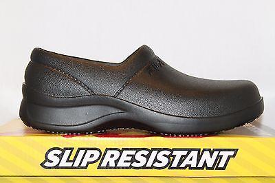 (Mens Fila GALVANIZE SR Rubber Slip On Resistant Non Skid Work Clogs Shoes Black)