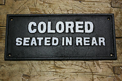 Cast Iron SIGN COLORED SEATED IN REAR Black AMERICANA BUS STOP PLAQUE
