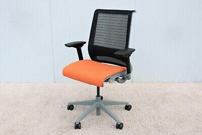Steelcase Adjustable Ergonomic Executive Orange Think Desk Chair In 3d Knit Back