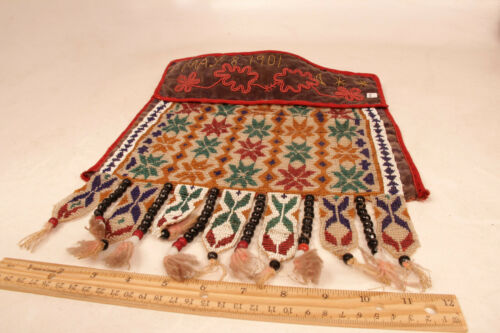 """Antique Great Lakes Tribal Beadwork Dance Apron 15"""" x 12"""" """"May 8 1901"""""""
