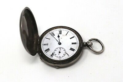 Antique Victorian C1879 Sterling Silver Key Wind Full Hunter Pocket Watch A/F