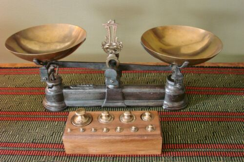 Antique Rare French 1 Kilo Scale Vintage Brass Bowls Scales Boxed Weights