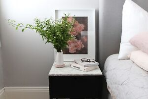 Carrara marble and black stained American ash wood bedside table