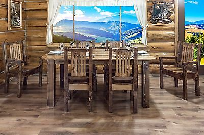 -  Farmhouse Style Dining Room Furniture Set Table 6 Chairs Amish Made Varnished