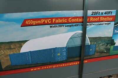 Covermore 20x40 Conex Shipping Container Mounted 15oz Pvc Shelter Cover