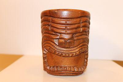 Vintage Hawaiian Tiki Face~ Genuine Monkey Pod Hand Carved Wood Mug~Hawaii