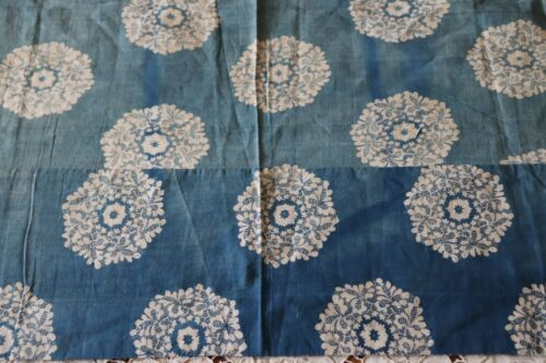 Antique French c1810 Resist Dyed Cotton Indigo Faded Medallion Print Fabric