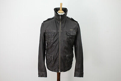 SUPERDRY Brown Leather Jacket size M