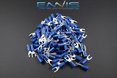 14-16 Gauge Vinyl Locking Spade 8 Connector 100 Pk Blue Crimp Terminal Awg