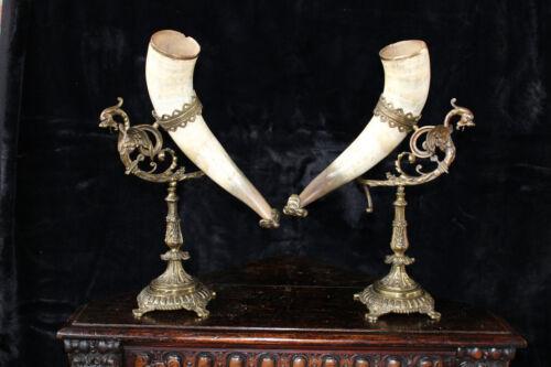 PAIR antique bronze gothic Castle dragon figurine cornucopia horn statues