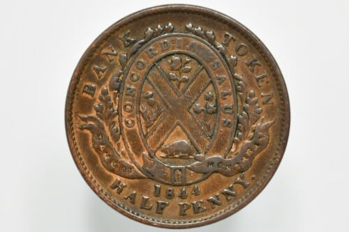 1844 Bank of Montreal 1/2 Penny Bank Token KM# Tn18