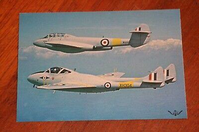 RAF Vintage Pair Vampire T11 & Meteor T7 postcard