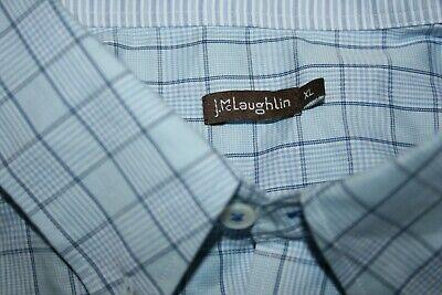 J McLaughlin Blue/White Checkered Button Up Long Sleeve Men's Shirt Size XL