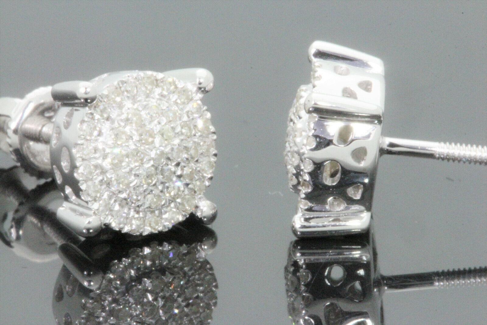 10K WHITE GOLD .30 CARAT MENS WOMENS 8 mm 100% GENUINE DIAMONDS EARRING STUDS
