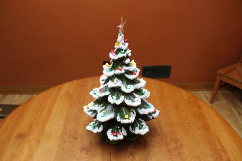 "Two-Piece Atlantic Mold 19"" Flocked Ceramic Christmas Tree w/Large Bulbs & Birds"