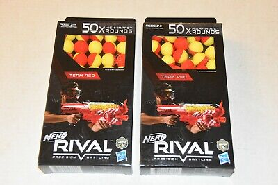 (1) NEW SEALED Nerf Rival 50x High-Impact Rounds Team Red Yellow Refills balls